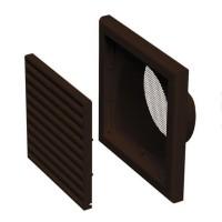 Větrací mřížka plastová 187x187mm s přírubou Ø125mm hnědá MV120V